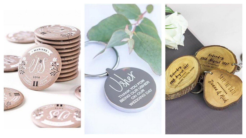 Breloki i przypinki dla gości weselnych