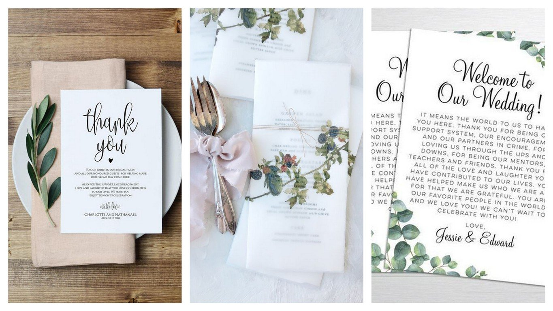 List z podziękowaniem dla gości weselnych