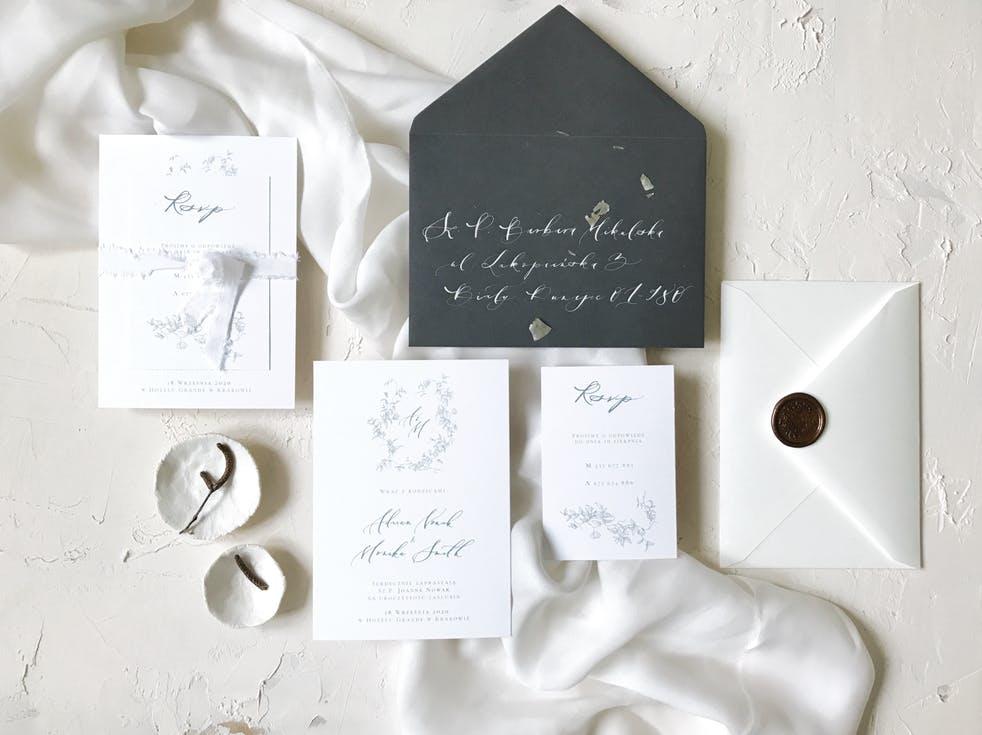 kaligrafowane zaproszenia ślubne 2020
