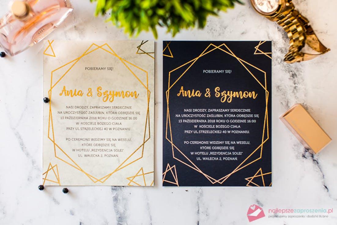 geometryczne zaproszenia ślubne 2020