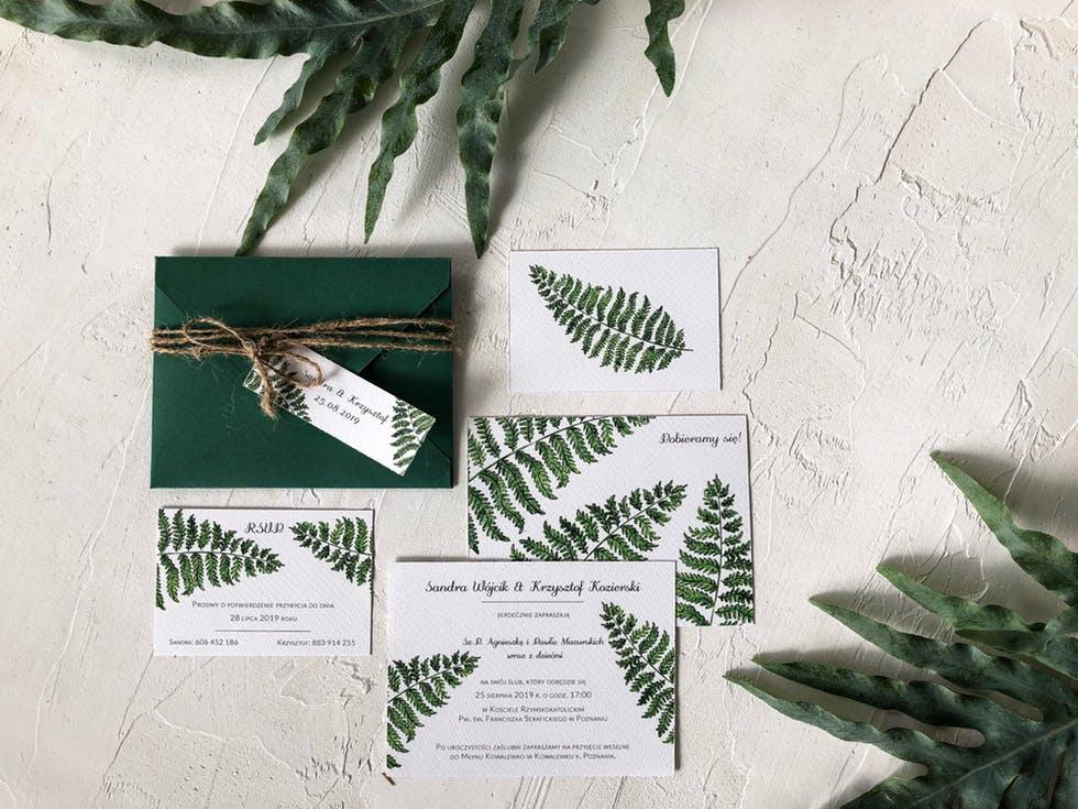 biało-zielone zaproszenia ślubne 2020