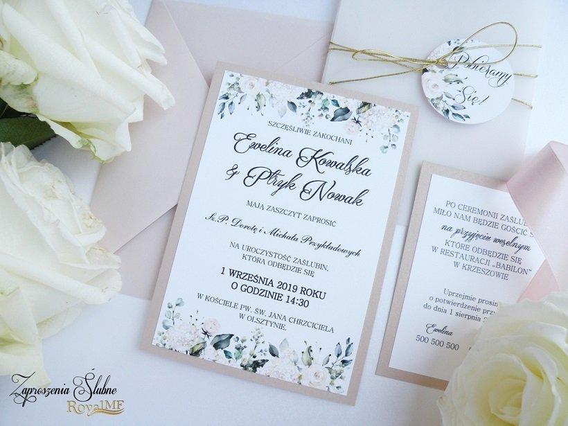 różowe zaproszenia ślubne 2020