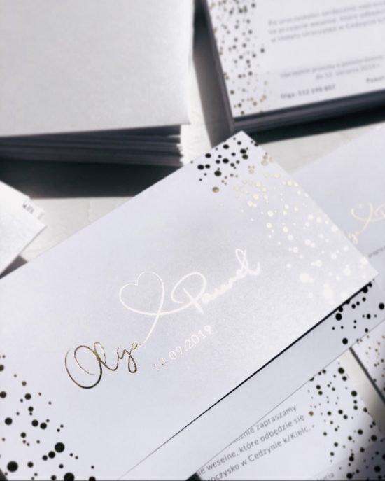 srebrne zaproszenia ślubne 2020