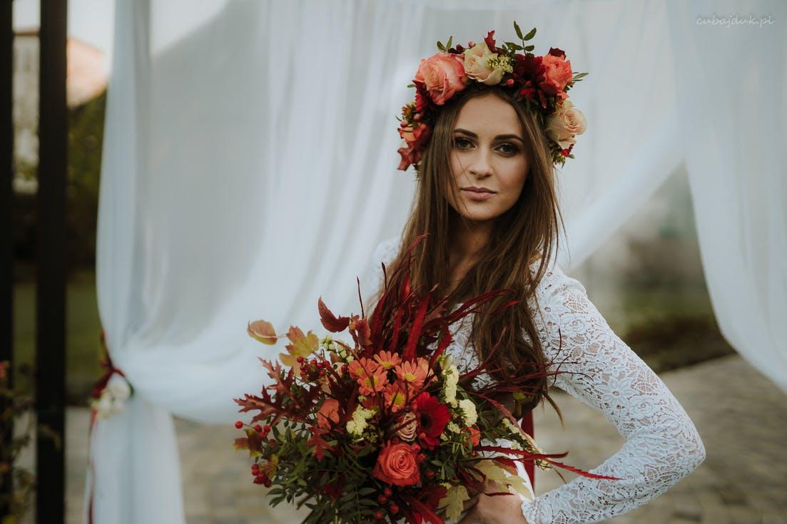 jesienny bukiet ślubny z wiankiem
