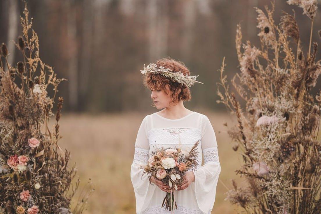 skromny bukiet ślubny