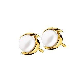 Złote kolczyki z jedną perłą Apart