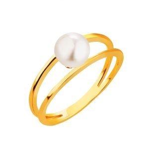 Złoty pierścionek z perłą Apart