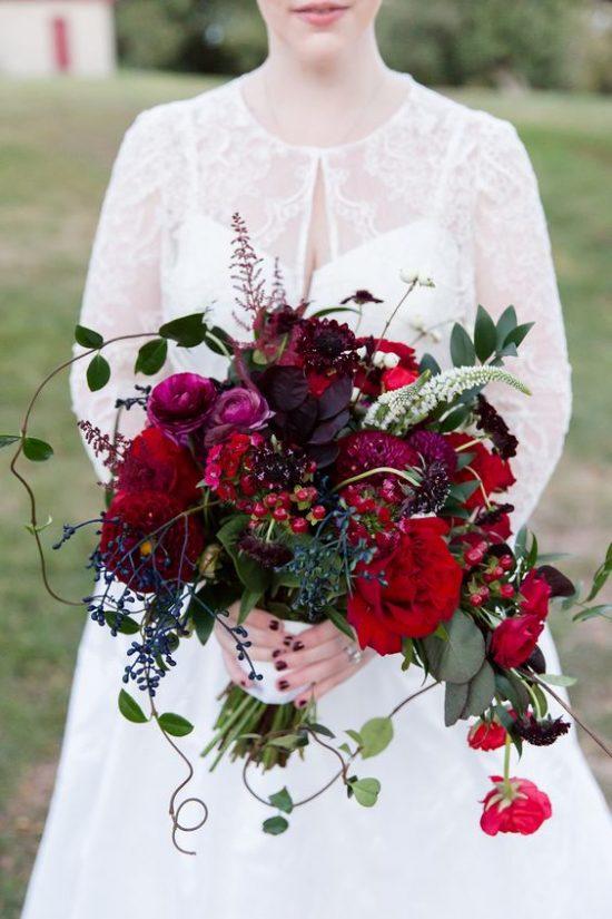 Bordowe bukiety ślubne - zdjęcie 5