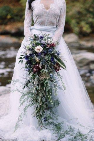 Długie bukiety ślubne