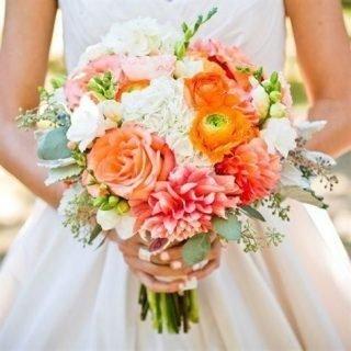 Koralowy bukiet ślubny