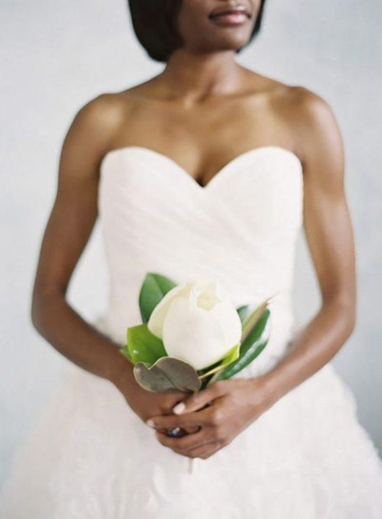 Wiązanka ślubna z jednego kwiatu