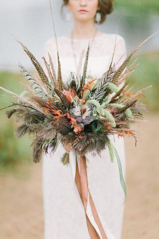 Wiązanka ślubna z piórami