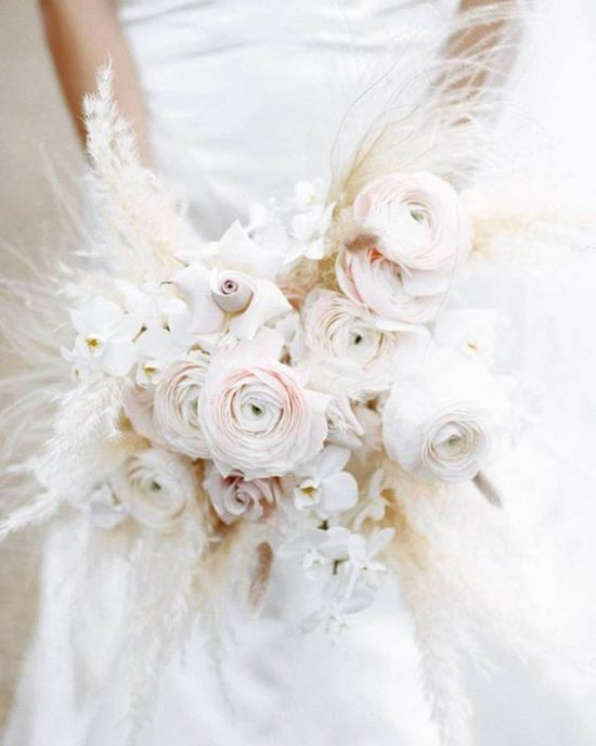 Wedding bouquet with white grasses