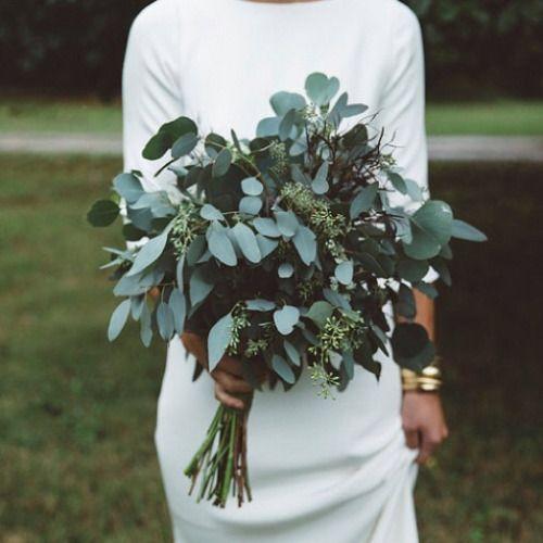 Bukiet ślubny z samych liści
