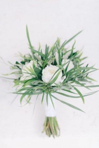 Biało-zielony bukiet ślubny