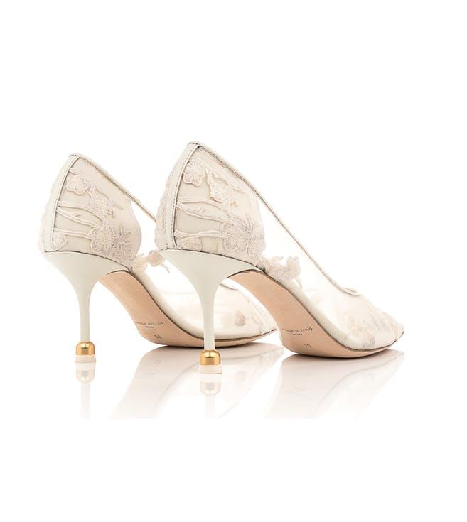 Koronkowe buty ślubne