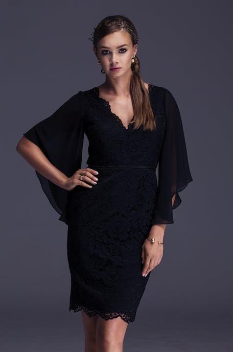 czarna sukienka na wesele 2019 - z długimi rękawami