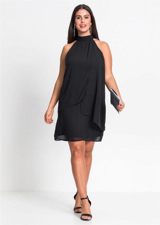 czarna sukienka na wesele plus size do kolana
