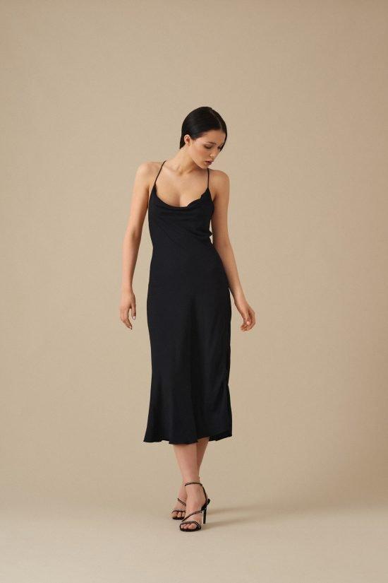 czarna sukienka na wesele midi