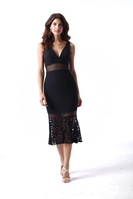 czarna sukienka na wesele za kolano