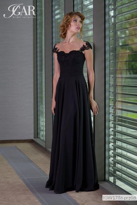 długa czarna sukienka na wesele
