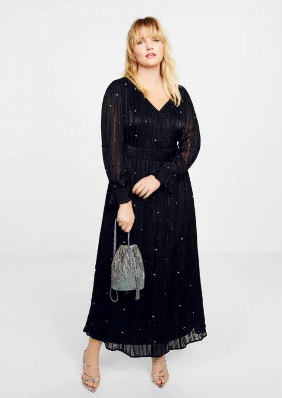 czarna sukienka na wesele plus size - Mango