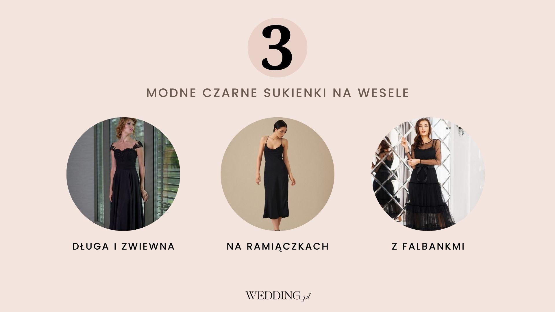 modne czarne sukienki na wesele