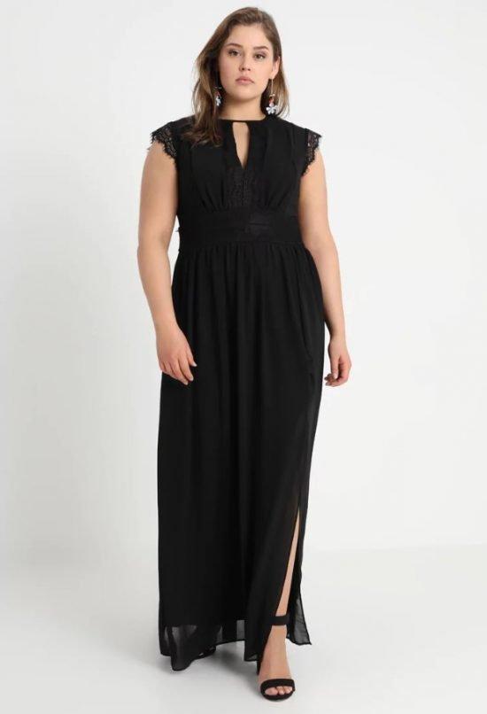 czarna sukienka na wesele plus size maxi
