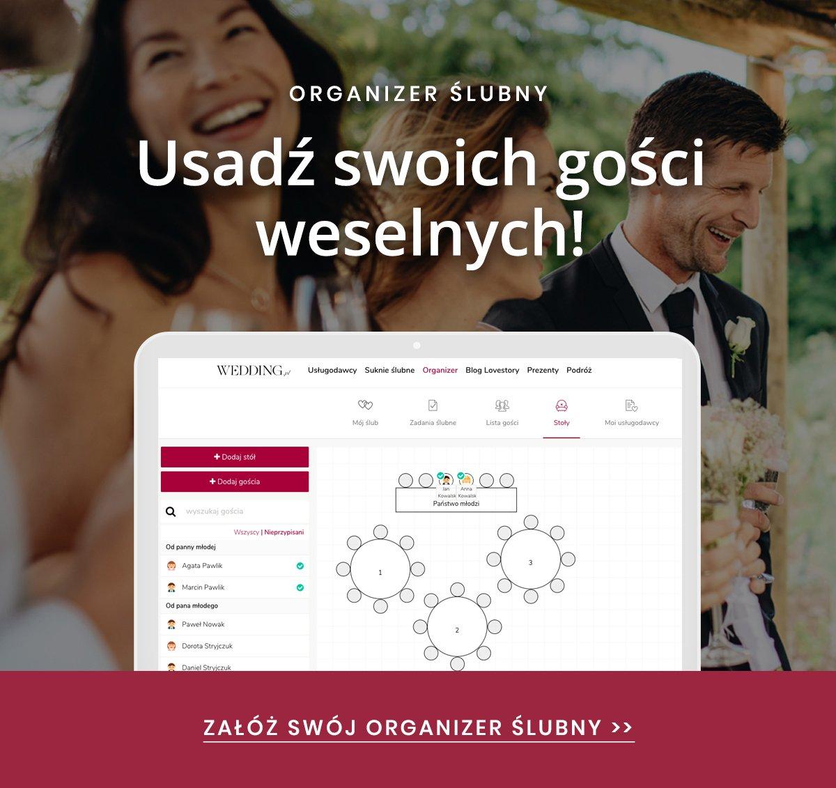 organizer ślubny online - usadzenie gości przy stołach