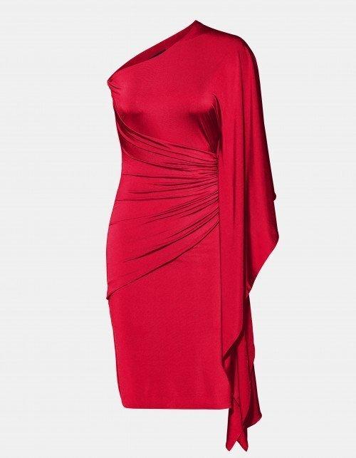 Czerwona sukienka na wesele na jedno ramię