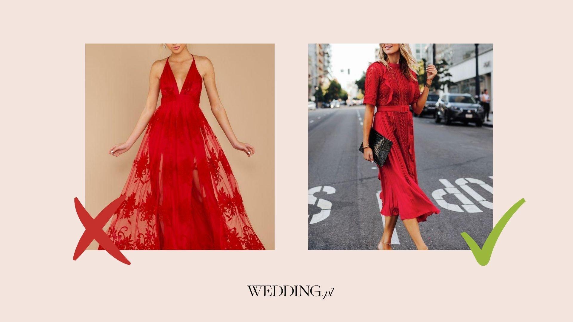czerwona sukienka na wesele czy wypada