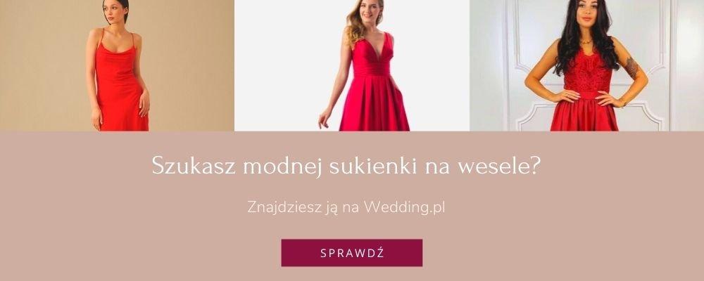 czerwona sukienka weselna