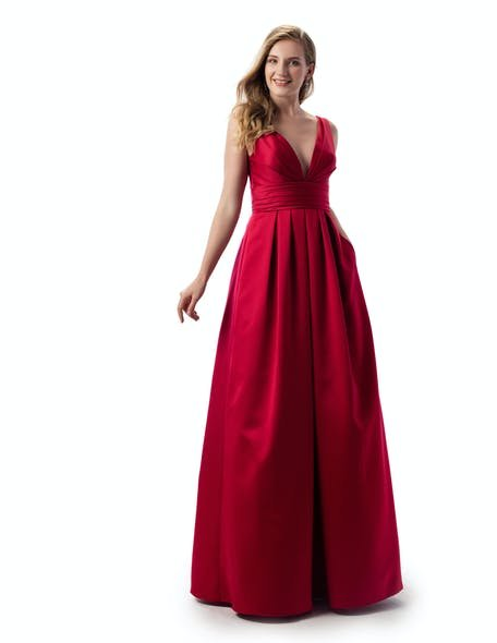 długa czerwona sukienka na wesele maxi