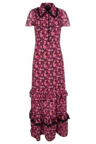 Czerwona sukienka na wesele w kwiaty