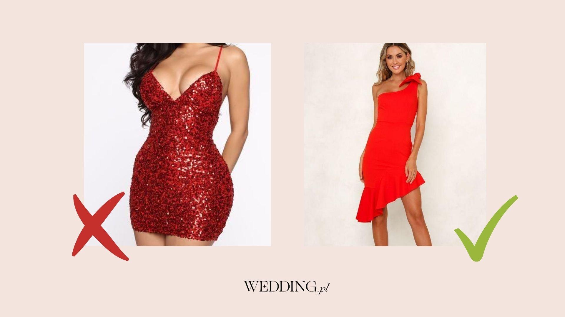 krótka czerwona sukienka na wesele mini
