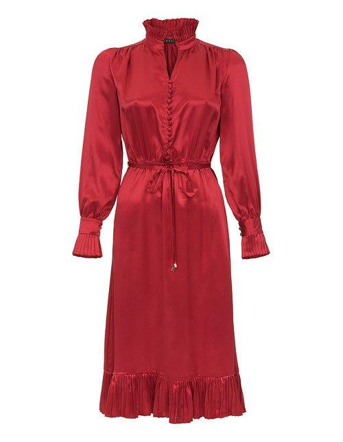 Czerwona sukienka na wesele ze stójką