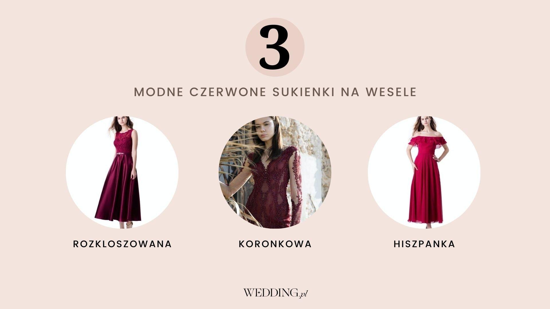 modne sukienki na wesele czerwone