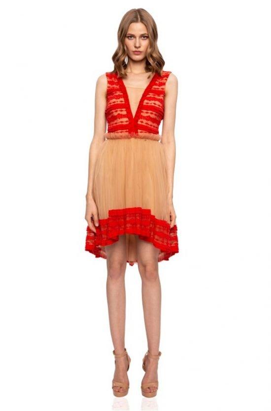 Czerwono-beżowa sukienka na wesele