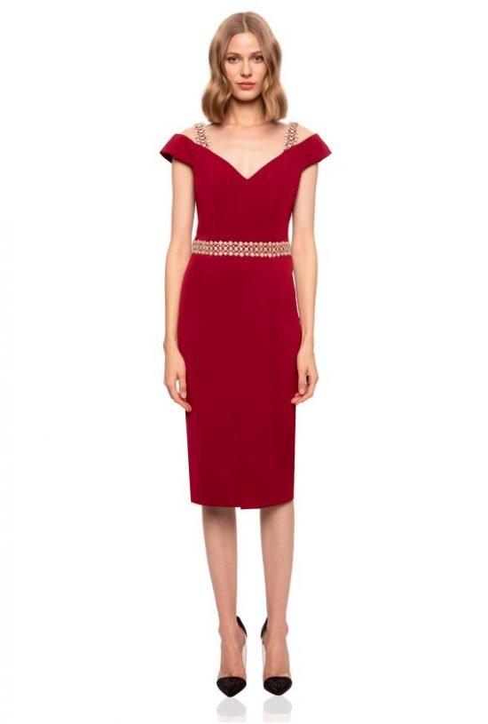 Czerwona sukienka na wesele Nissa