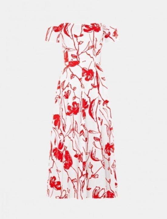Czerwona sukienka na wesele we wzory