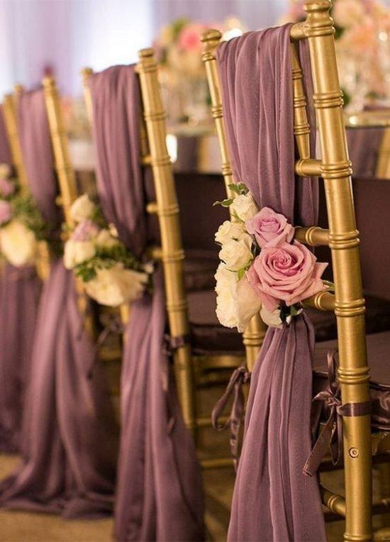 Dekoracje krzeseł weselnych
