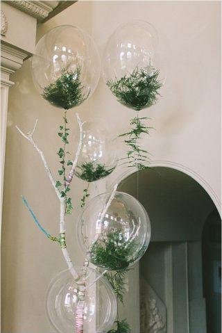 Balony z roślinami w środku - wesele