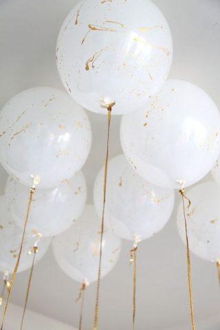 Biało-złote balony na weselen