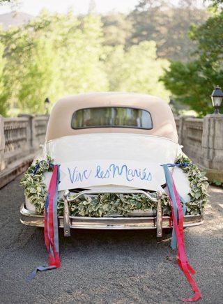 Nowoczesna Dekoracja samochodu do ślubu