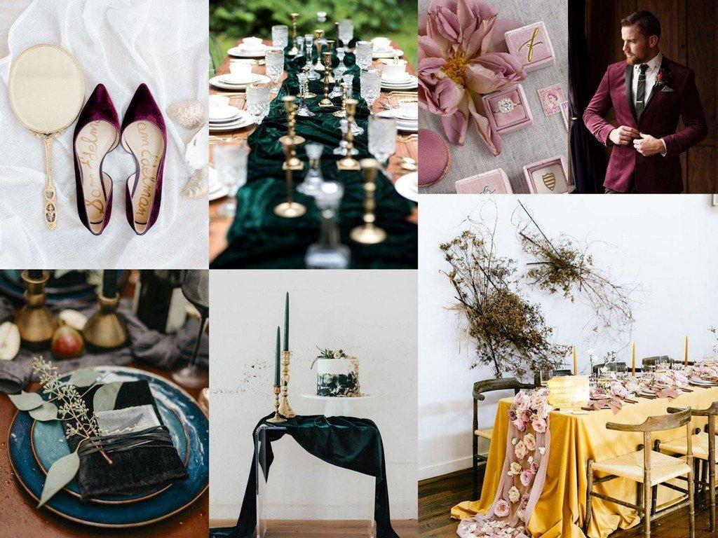 Dekoracje ślubne 2020 - aksamit