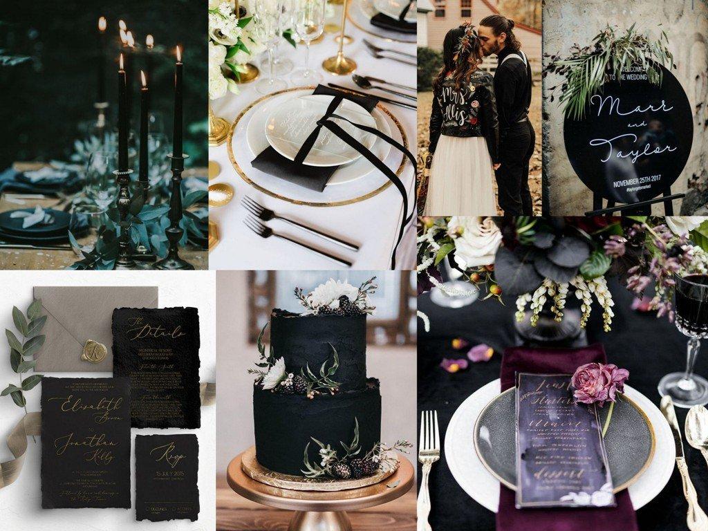 Dekoracje ślubne 2020 - czerń