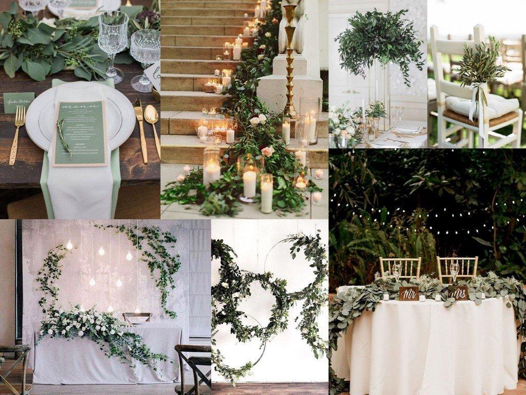 Dekoracje ślubne 2020 - greenery
