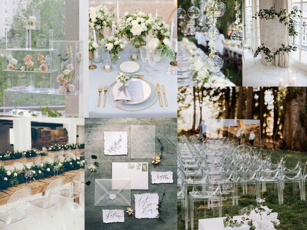 Dekoracje ślubne 2020 - przezroczyste
