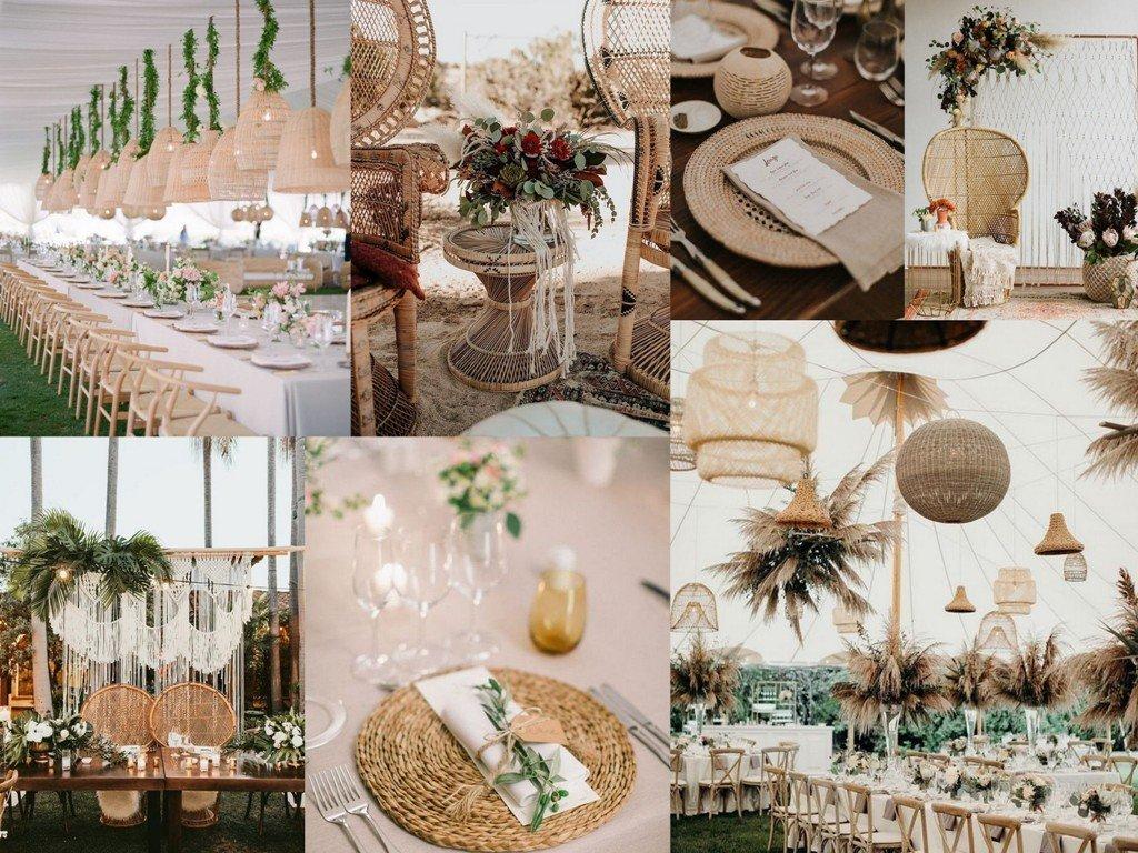 Dekoracje ślubne 2020 - rattan