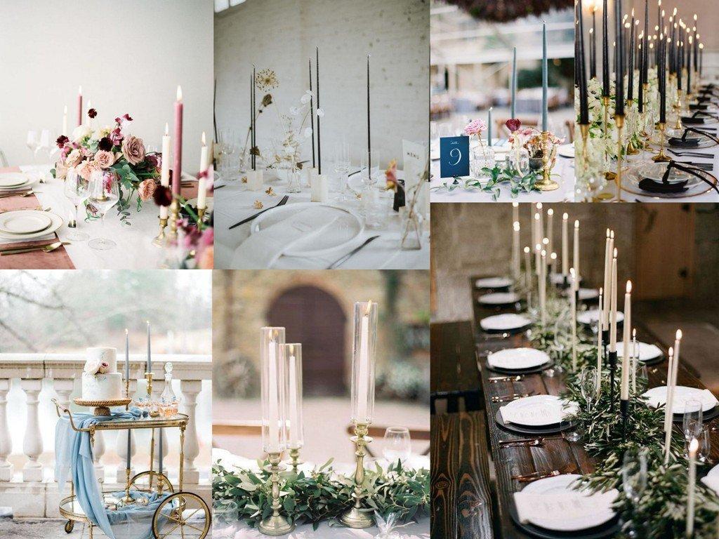 Dekoracje ślubne 2020 - stożkowe świece